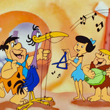 Fred Plays the Harp Hanna Barbera Animation Art Sericel and Full Color Lithograph Background Framed