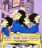 NYC Beatles Cartoon Sericel with Full Color Lithograph Background Apple Authorized by DenniLu