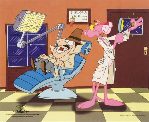Pink Panther Dentist United Artists Sericel with Full Color Lithograph Background