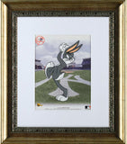 Bugs Bunny Pitching with the Yankees Warner Bros Sericel from Authentic Images Bearing the MLB and Yankee Logos Framed