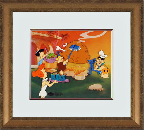 Hanna Barbera Animation Art Flintstones Barbecue Sericel with Full Color Lithograph Background Framed