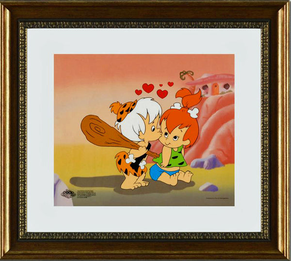 Pebbles and Bam Bam Hanna Barbera Sericel with a Full Color Lithograph Background Framed