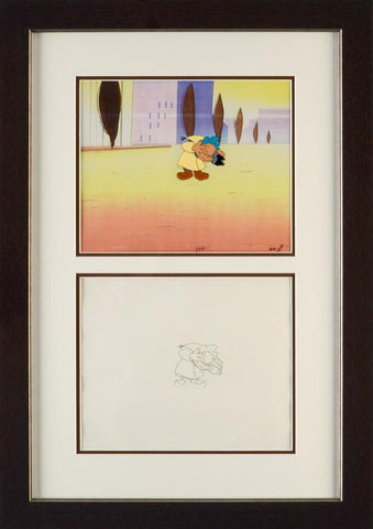 Pink Panther Show Production Animation Cel and Paired Pencil Sketch Framed