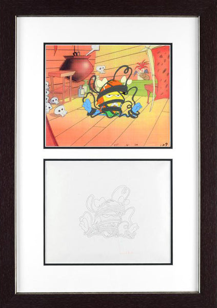 The Pink Panther Show Production Animation Cel and Paired Pencil Sketch Framed