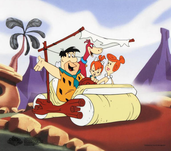 The Flintstones Family Car Hanna Barbera Animation Art Sericel with a Full Color Background