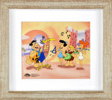 Fred Plays the Harp Hanna Barbera Animation Art Sericel with Full Color Lithograph Background Framed