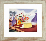 The Flintstones Family Car Hanna Barbera Animation Art Sericel with Full Color Background Framed