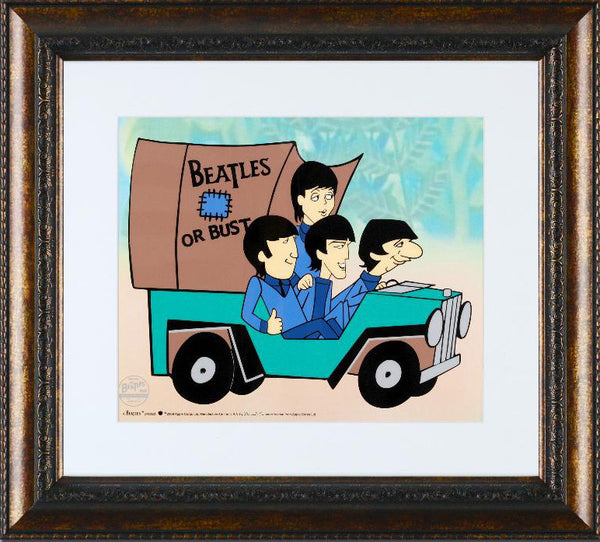 Beatles Or Bust Sericel with Full Color Lithograph Background by Dennilu Framed