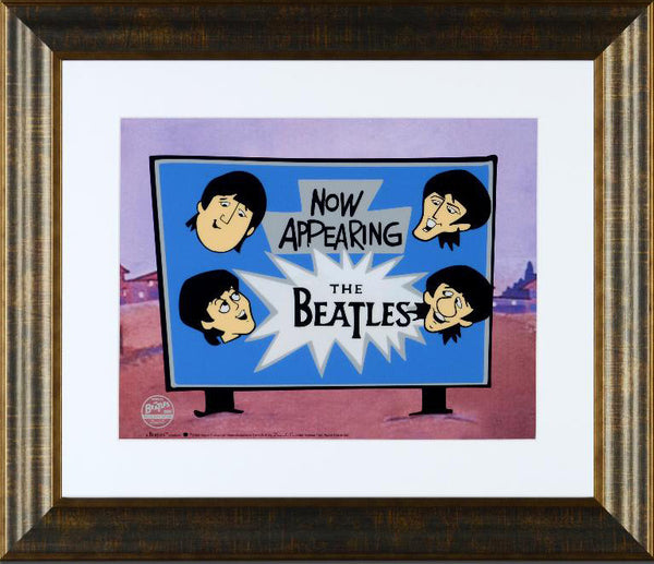 Now Appearing The Beatles DenniLu Sericel with Full Color Lithograph Background Framed