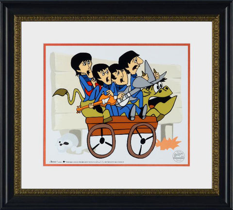 The Beatles Bullride Sericel by DenniLu and Authorized by Apple Corps is a L/E Sericel with a Full Color Lithograph Background and Dennilu Stamp Framed