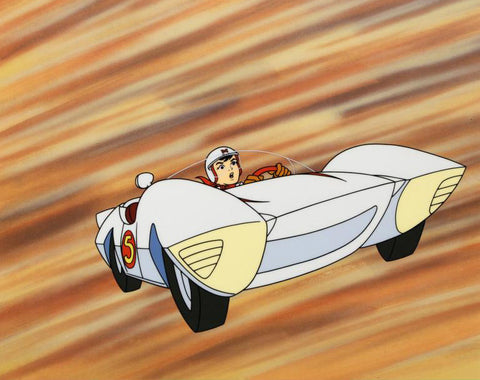 Speed Racer in the Mach 5 Tatsuo Yoshida Licensed Sericel with Full Color Background