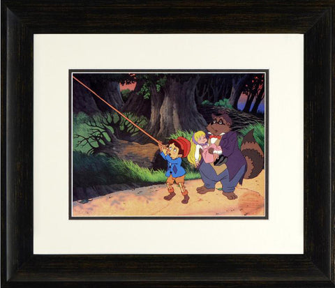 Pinocchio Skalaway Raccoon Twinkle Filmation Associates Offset Lithograph Print Numbered and Framed