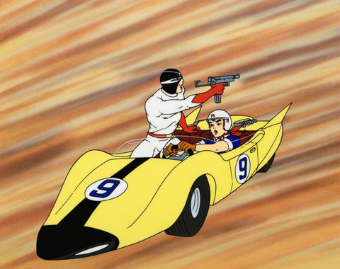 Speed Racer and Racer X in Number 9 Shooting Star Car Tatsuo Yoshida Licensed Sericel and a Full Color Background