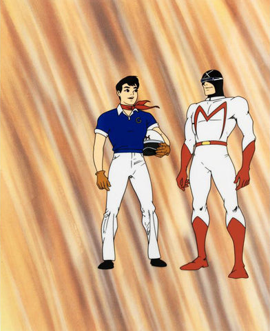 Speed Racer and Racer X Tatsuo Yoshida Licensed Sericel with Full Color Background