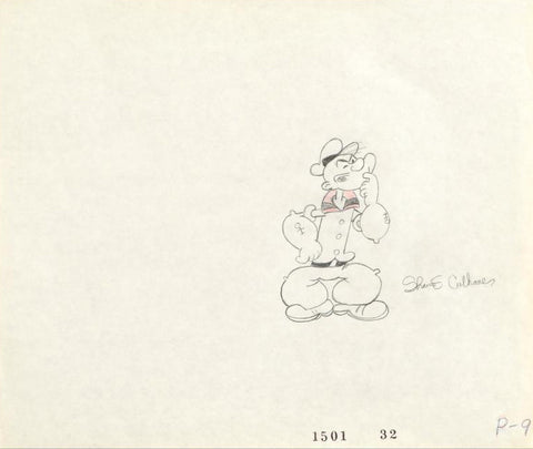 James Culhane Artist Hand Signed Original Pencil Production Drawing Popeye on Studio Paper