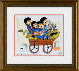 The Beatles Bullride DenniLu Sericel Authorized by Apple Corps is a L/E Sericel with a Full Color Lithograph Background Bearing Dennilu Stamp Framed