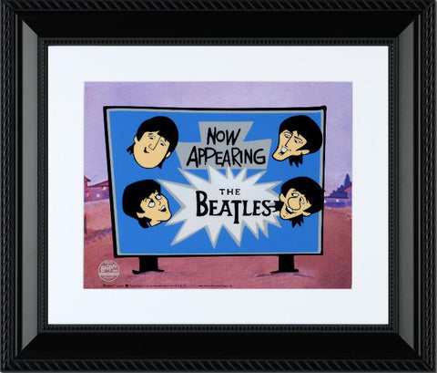 Now Appearing The Beatles Sericel with Full Color Lithograph Background Framed by Dennilu
