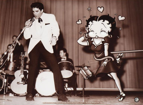Betty Boop Fine Art Lithograph Print Starstruck Betty with Elvis by King Features with Official Seal