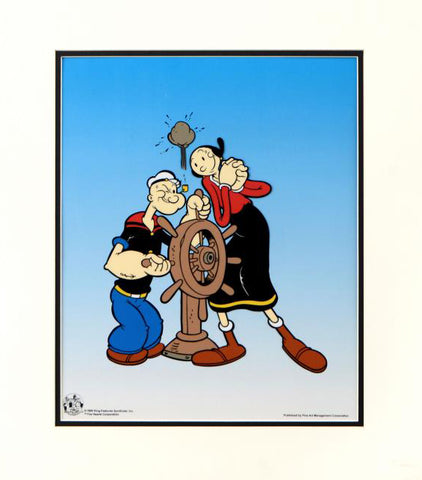 King Features Popeye Captains Wheel Sericel with Full Color Lithograph Background Matted
