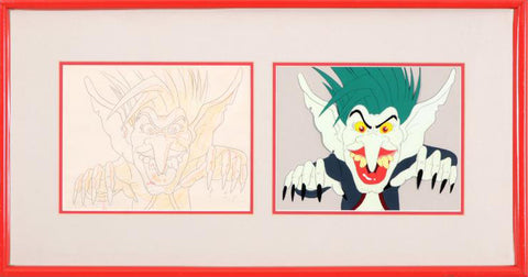 Green Haired Monster Filmation Associates Diptych with Original Production Drawing on Paper and a Hand Painted Production Animation Cel Framed