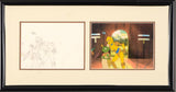 C3PO & Waiter Filmation Associates Diptych with Original Production Drawing on Paper and Hand Painted Production Animation Cel Framed