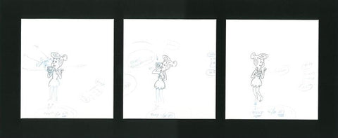 Flintstones Fruity Pebbles Scott Shaw Production Animation Drawings Matted