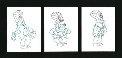 Barney Rubble Scott Shaw Pencil Production Animation Drawings Artist Hand Signed and Matted
