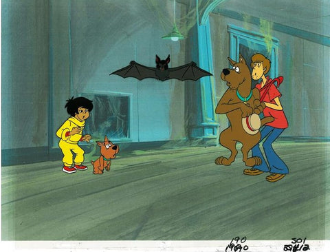 Scooby Doo Hand Painted Production Animation Cel and Full Color Background