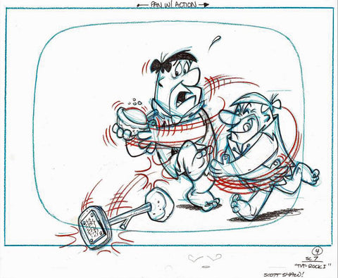 Flintstones Fruity Pebbles Scott Shaw Production Animation Drawing Hand Signed
