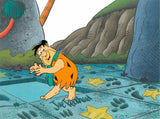 Fred Flintstone Hanna Barbera Original Production Animation Cel and Full Color Lithograph Background