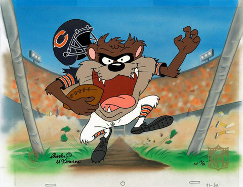 Touch Down Taz Bears Charles McKimson Hand Painted Artist Proof Animation Cel Hand Signed and AP Numbered with Full Color Background