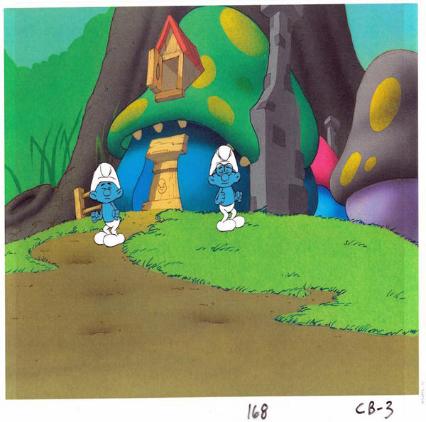 The Smurfs Hand Painted Production Animation Cel and Full Color Background