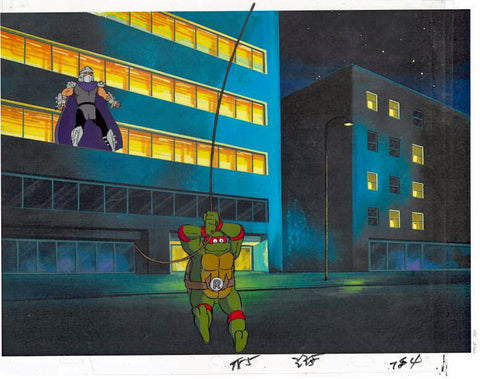 Teenage Mutant Ninja Turtles Hand Painted Production Animation Cel with Two Paired Pencil Sketches and Full Color Background