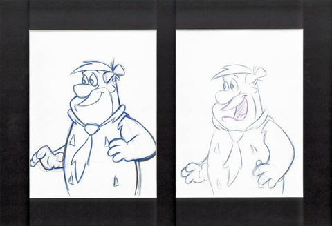 Fred Flintstone Hanna Barbera Pencil Production Animation Drawings Matted