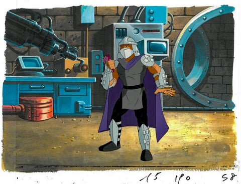Teenage Mutant Ninja Turtles Hand Painted Production Animation Cel and Full Color Background