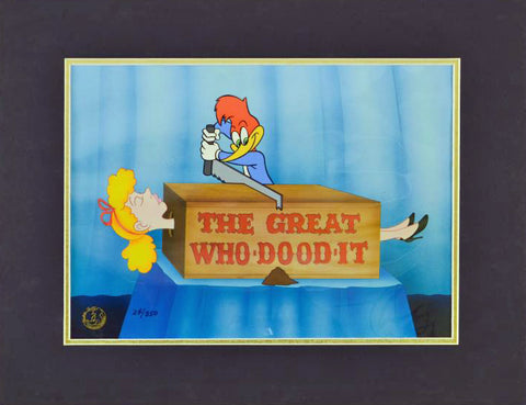 The Great Who-Dood-It Walter Lantz Studios Hand Painted Animation Cel Numbered and Matted