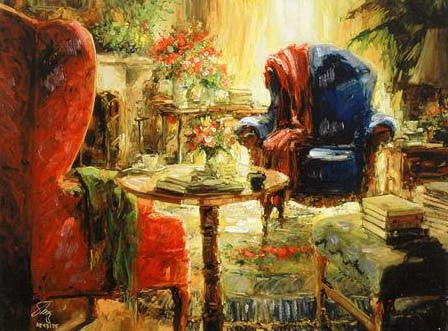 Blue Chair Stephen Shortridge Artist Proof Fine Art Canvas Giclee Print Artist Hand Embellished and Signed