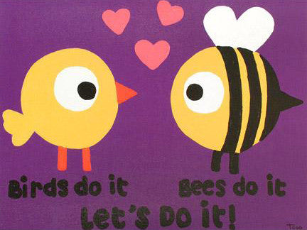 Todd Goldman Birds Do It Bees Do It Canvas Giclee Print Artist Hand Signed and Numbered