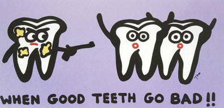 Todd Goldman When Good Teeth Go Bad Fine Art Canvas Giclee Print Artist Hand Signed and Numbered