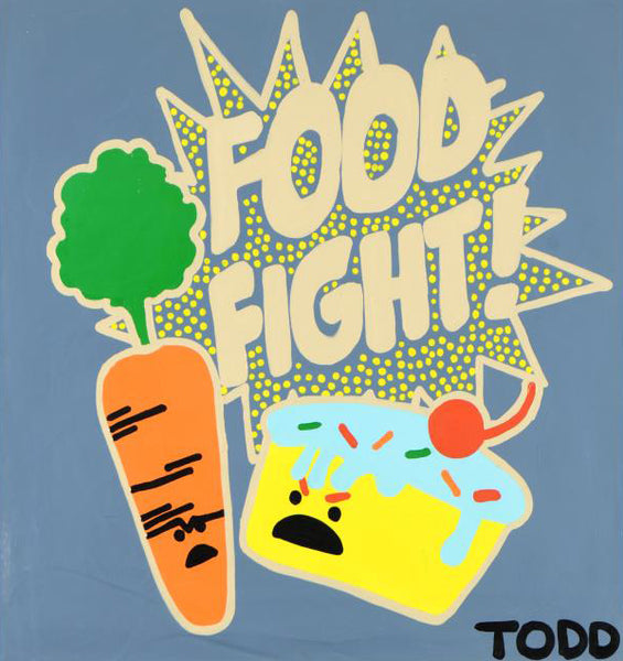 Food Fight Todd Goldman Acrylic Canvas Painting Artist Hand Signed