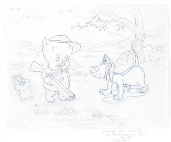 Porky Pig Tom Ray Original Pencil Layout Drawing Hand Signed by the Artist's Widow Brenda Ray
