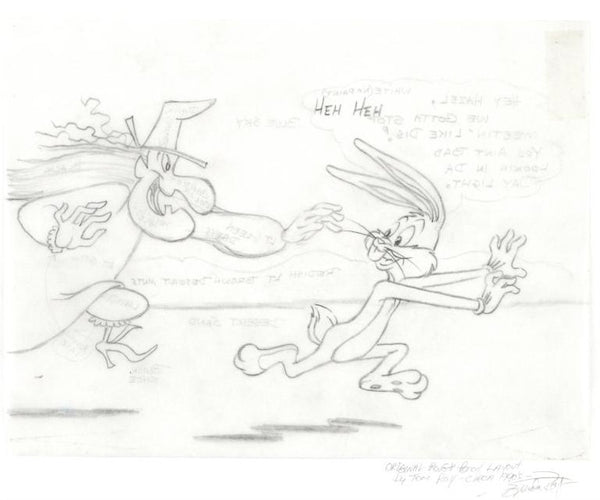 Bugs Bunny and Witch Hazel Tom Ray Original Pencil Layout Drawing Brenda Ray Hand Signed