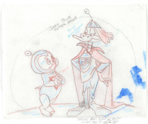 Porky Pig Daffy Duck Tom Ray Original Pencil Layout Drawing Hand Signed by the Artist Widow Brenda Ray