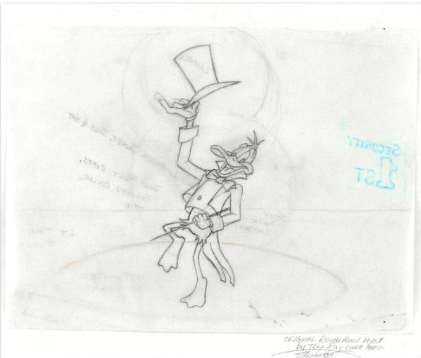Daffy Duck Tom Ray Original Pencil Layout Drawing Brenda Ray Hand Signed