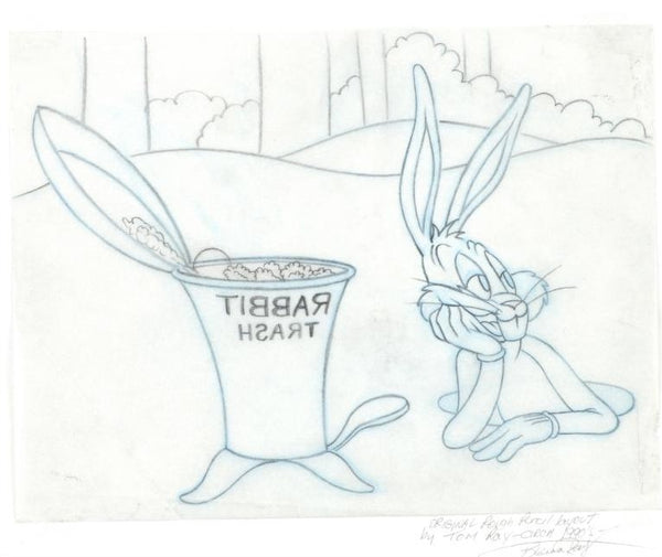 Bugs Bunny Tom Ray Original Pencil Layout Drawing Brenda Ray Hand Signed