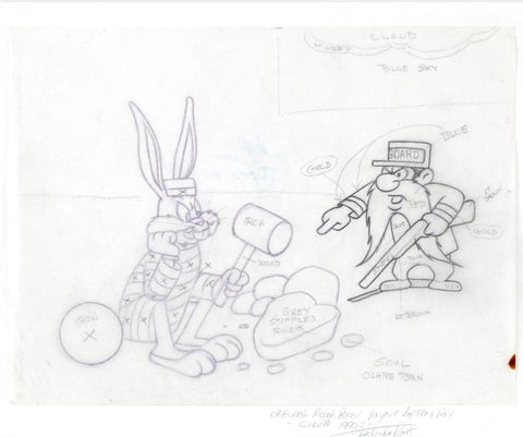 Bugs Bunny and Yosemite Sam Tom Ray Original Pencil Layout Drawing Brenda Ray Hand Signed