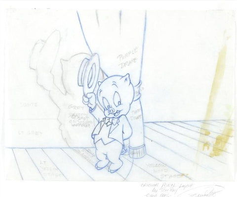 Porky Pig Tom Ray Original Pencil Layout Drawing Hand Signed by the Artist Widow Brenda Ray
