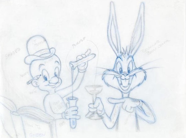 Bugs Bunny and Elmer Fudd Tom Ray Original Pencil Layout Drawing Tom Ray and Brenda Ray Hand Signed