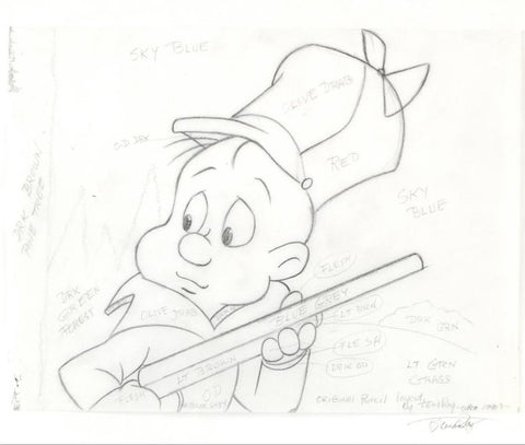 Elmer Fudd Tom Ray Original Pencil Layout Drawing Brenda Ray Hand Signed