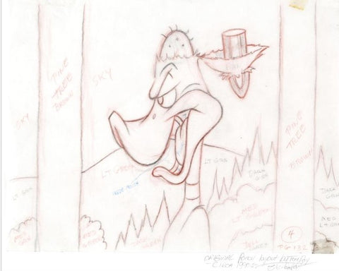 Daffy Duck Tom Ray Original Pencil Layout Drawing Brenda Widow Ray Hand Signed